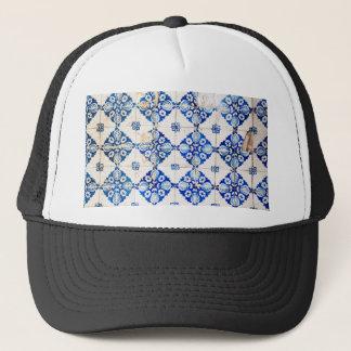 モザイクリスボンの青い装飾のポルトガルの古いタイル キャップ