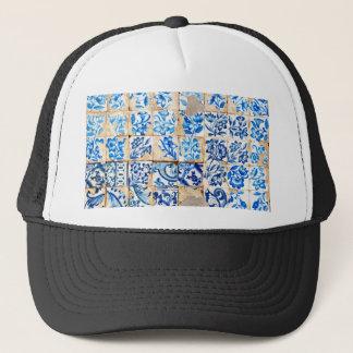 モザイクリスボンの青い装飾のポルトガルの古いタイルpo キャップ