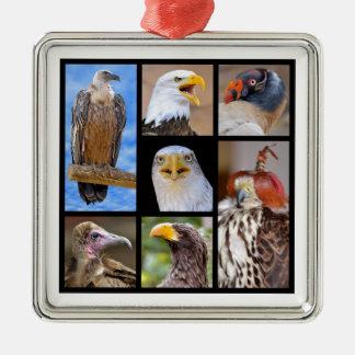 モザイク写真の肉食鳥 メタルオーナメント