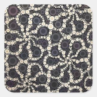モザイク花の花びら黒いブラウンタン スクエアシール