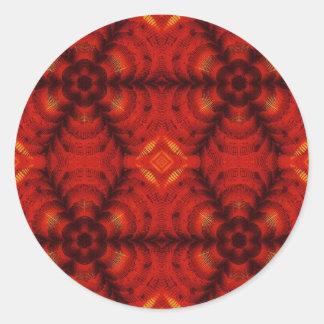 モザイク花の赤 ラウンドシール