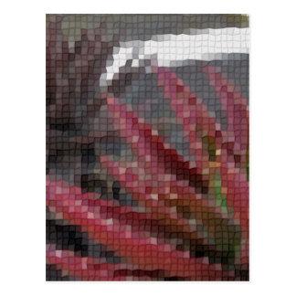 モザイク赤緑のアロエ3 ポストカード