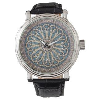 モザイク・タイルの円形浮彫りのギリシャ・ローマ風のコラムの腕時計 腕時計