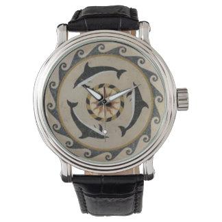 モザイク・タイルの円形浮彫りのMinoanのイルカのメンズウォッチ 腕時計