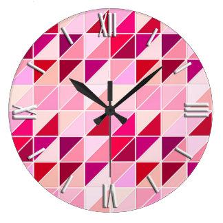 モザイク・タイル-ピンク、モモおよびバーガンディ ラージ壁時計