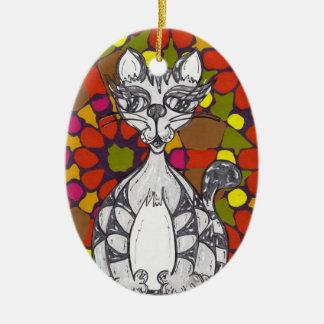 モザイクScribby猫1のオーナメント セラミックオーナメント