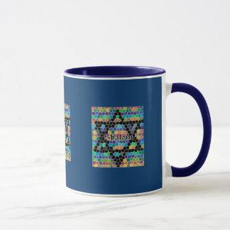 モザイクShalomまたは濃紺ダビデの星 マグカップ