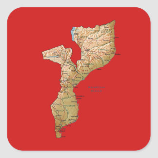 モザンビークの地図のステッカー スクエアシール