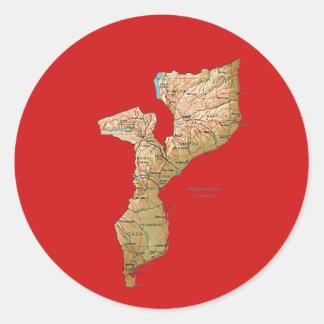 モザンビークの地図のステッカー ラウンドシール