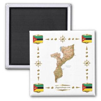 モザンビークの地図 + 旗の磁石 マグネット