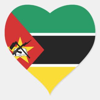 モザンビークの旗のハートのステッカー ハートシール