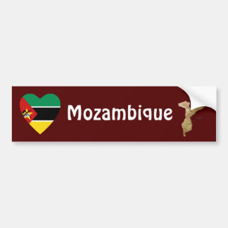 モザンビークの旗のハート + 地図のバンパーステッカー バンパーステッカー
