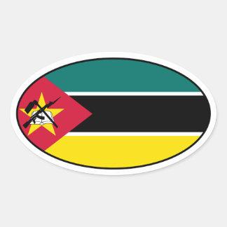 モザンビークの旗の楕円形のステッカー 楕円形シール