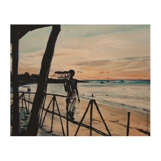 モザンビークの日没-木のプリント ウッドウォールアート