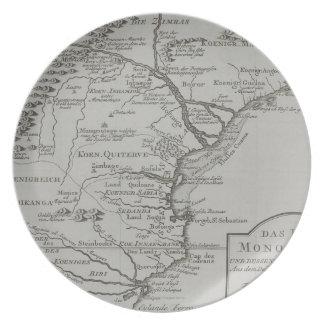 モザンビーク、アフリカの地図 お皿