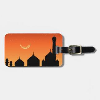 モスクのシルエットの夕べの空-荷物のラベル ラゲッジタグ