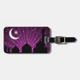 モスクのシルエットの紫色夜-荷物のラベル ラゲッジタグ