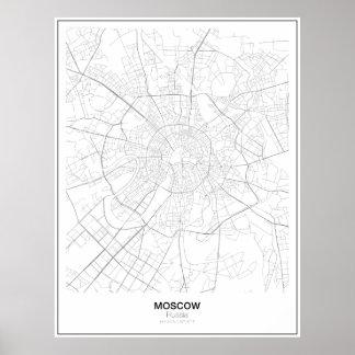 モスクワ、ロシアのミニマリストの地図 ポスター