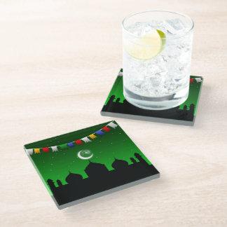 モスク-ガラスコースターが付いているカラフルな花輪 ガラスコースター