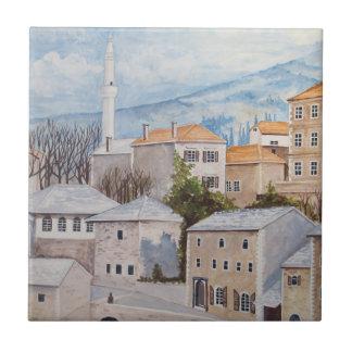 モスタル、ボスニア- Townscapeのアクリルの絵画 タイル