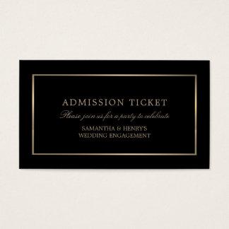 モダンおよびお洒落、黒いおよび金ゴールド、入場のチケット 名刺