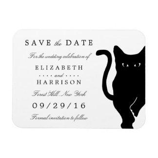 モダンでお洒落な黒猫の結婚式の保存日付 磁石