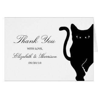 モダンでお洒落な黒猫の結婚式は感謝していしています カード