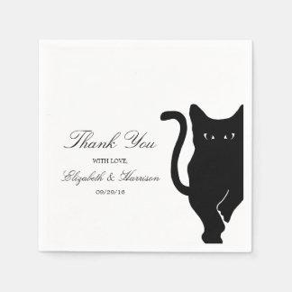 モダンでお洒落な黒猫の結婚式 スタンダードカクテルナプキン