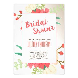 モダンでかわいい花のブライダルシャワーの招待状 カード