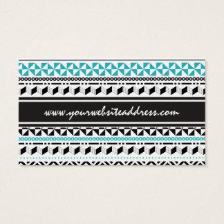 モダンでアステカな種族の幾何学的な黒および水 名刺