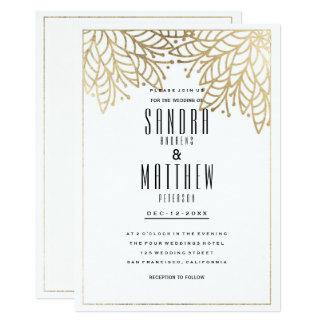 モダンでエレガントで白く模造のな金ゴールドの花の結婚式 12.7 X 17.8 インビテーションカード
