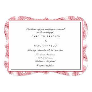 モダンでエレガントなあずき色の花の結婚式の招待 カード