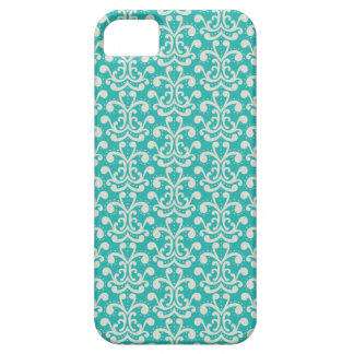 モダンでエレガントなティール(緑がかった色)のダマスク織パターン iPhone SE/5/5s ケース