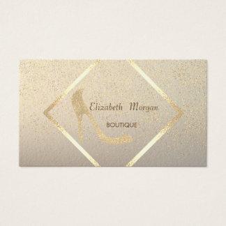 モダンでエレガントなハイヒール、金ゴールドフレーム、紙吹雪 名刺