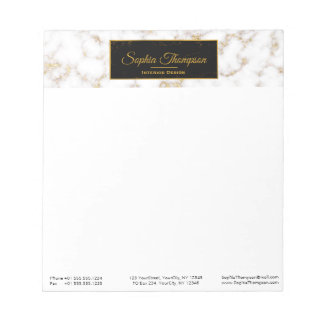 モダンでエレガントなホワイトゴールドの大理石の名前-メモ帳 ノートパッド