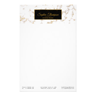 モダンでエレガントなホワイトゴールドの大理石の名前-文房具 便箋
