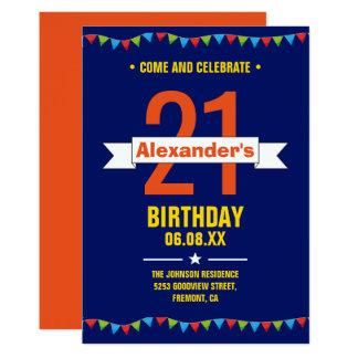 モダンでカラフルなタイポグラフィの第21誕生会 カード