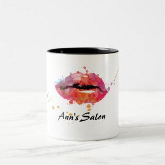 モダンでカラフルな唇の化粧の美しいのヘアーサロン ツートーンマグカップ