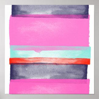 モダンでガーリーなピンクの紫色の水彩画のストライブ柄パターン ポスター