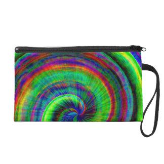 モダンでグランジな螺線形の虹の絞り染め リストレット