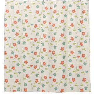 モダンでコンテンポラリーな花パターン シャワーカーテン