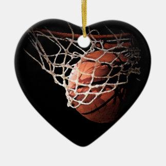 モダンでシックなバスケットボールのクリスマスオーナメント セラミックオーナメント