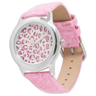 モダンでシックなピンクのチータのプリントパターンモノグラム 腕時計