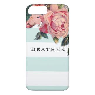 モダンでシックな広いwのバラ、水の青を縞で飾ります iPhone 8 plus/7 plusケース