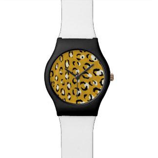 モダンでシックな金ゴールドのチータのプリントパターンモノグラム 腕時計