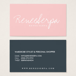 モダンでシンプルではっきりしたなローズピンクの灰色のコントラスト色 名刺
