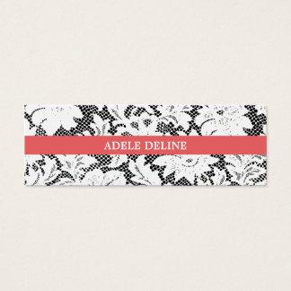 モダンでシンプルな白黒のレースのインテリア・デザイナー スキニー名刺