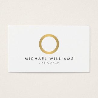 モダンでシンプルな金ゴールドの円の白い名刺 名刺