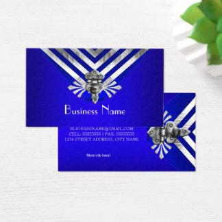 モダンでスタイリッシュなロイヤルブルーの銀のストライプの蝶番 名刺