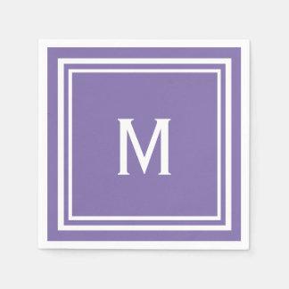 モダンでスタイリッシュな紫色のモノグラム スタンダードカクテルナプキン
